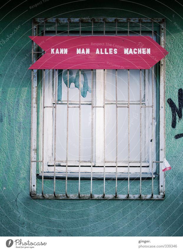 Köln UT | Ehrenfeld | ...oder nicht? Mauer Wand Fassade grün rot Fenster Gitter Schilder & Markierungen Hinweis Wegweiser Linie Zacken Klarheit Strebe Teilung