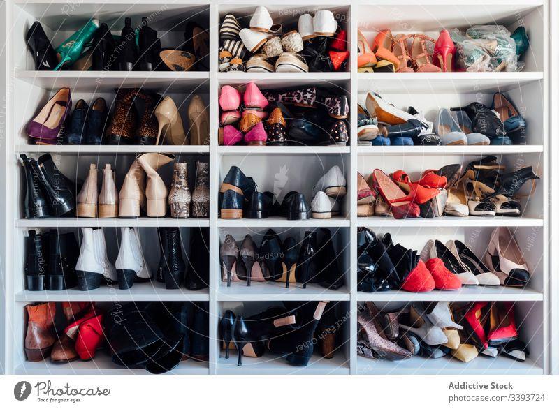 Sortiment an Damenschuhen im Kleiderschrank Schuh Schuhe Appartement Regal Frau farbenfroh teuer Ablage Lager verschiedene Stil Mode sortiert Design Tradition