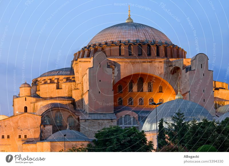Hagia Sophia at dusk in city of Istanbul in Turkey ayasofya hagia sophia byzantine constantinople istanbul turkey building turkish historic heritage landmark