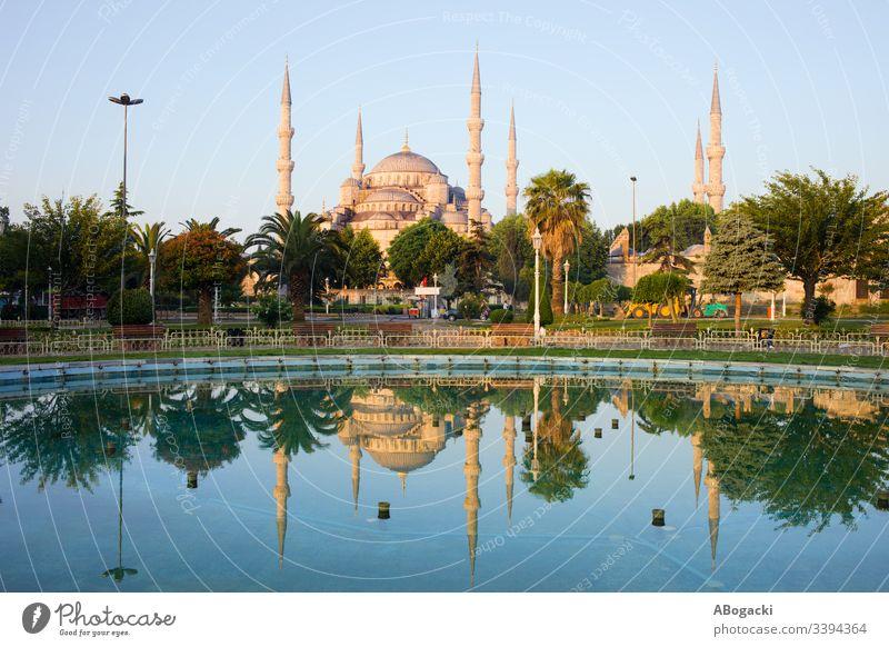 Blaue Moschee im Morgengrauen in Istanbul, Türkei Truthahn historisch Wahrzeichen Gebäude religiös Struktur Architektur Außenseite im Freien Erbe Türkisch camii