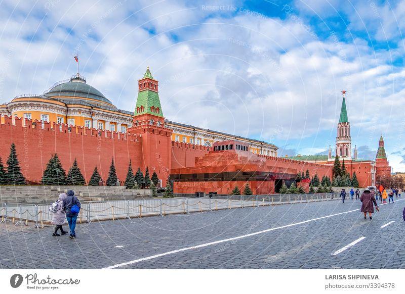 Moskauer Kreml mit Lenin-Mausoleum - befestigter Komplex im Stadtzentrum auf dem Roten Platz, Moskau, Russland moskauer kreml Wahrzeichen Quadrat Turm rot