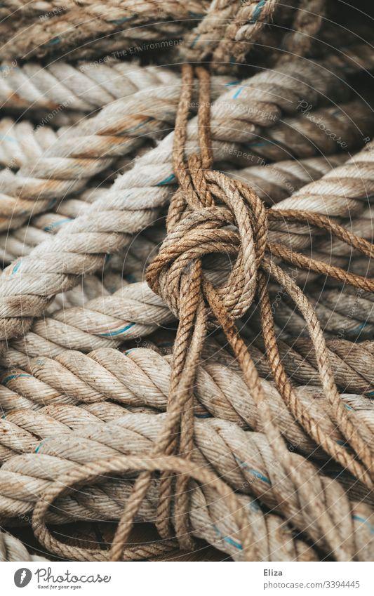 Nahaufnahme dicker, rauer Taue und Seile in beige und einem Knoten. Konzept Sicherheit. Seefahrt alt Detailaufnahme Farbfoto Segeln Schiff verknotet