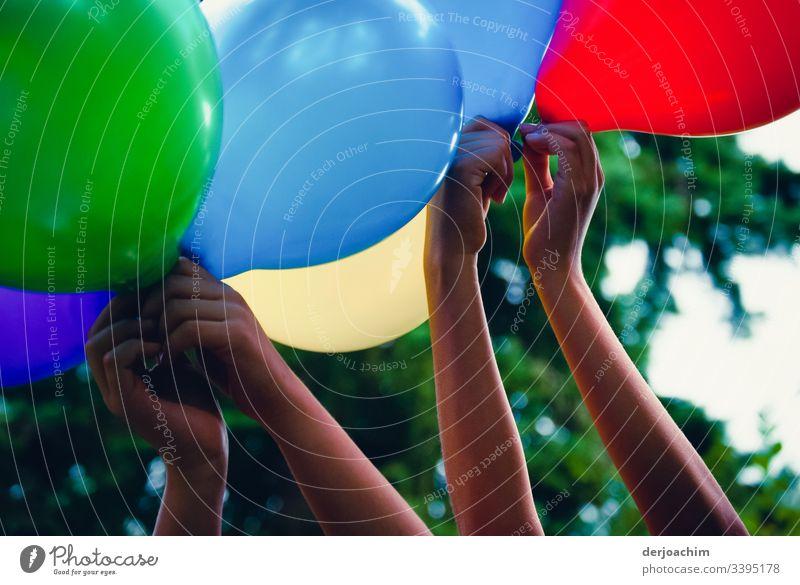 Kinderhände halten bunte Luftballons in die Höhe. Rot, Blau, Grün und Gelb. Im Hintergrund ein Baum. Hände Finger Kinderspiel Farbfoto symbolkraft Tag
