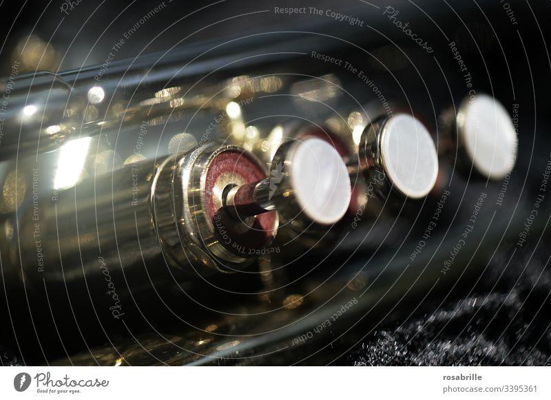 Detail einer Trompete - Trompetenventile in Nahaufnahme | Geräusch Tasten Ventil Ventile Musikinstrument golden Trompetentasten Ton Töne musizieren Klang