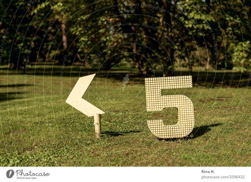 Fünf ( Wegweiser) Ziffern & Zahlen fünf Hinweisschild Grünfläche gelb