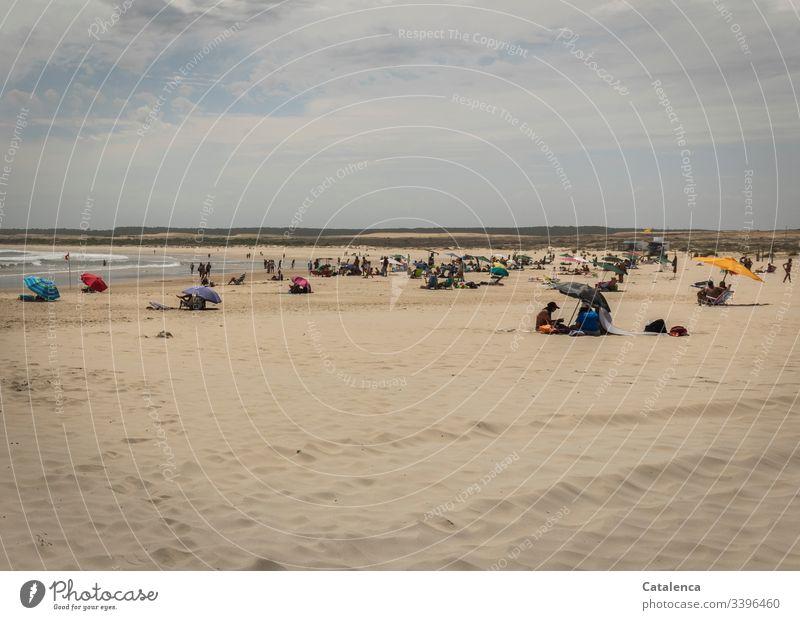 Gut besuchte, weite Strandlandschaft an einem heißen Sommertag Ferien & Urlaub & Reisen Erholung Küste Sand Menschen Meer Himmel Außenaufnahme Farbfoto