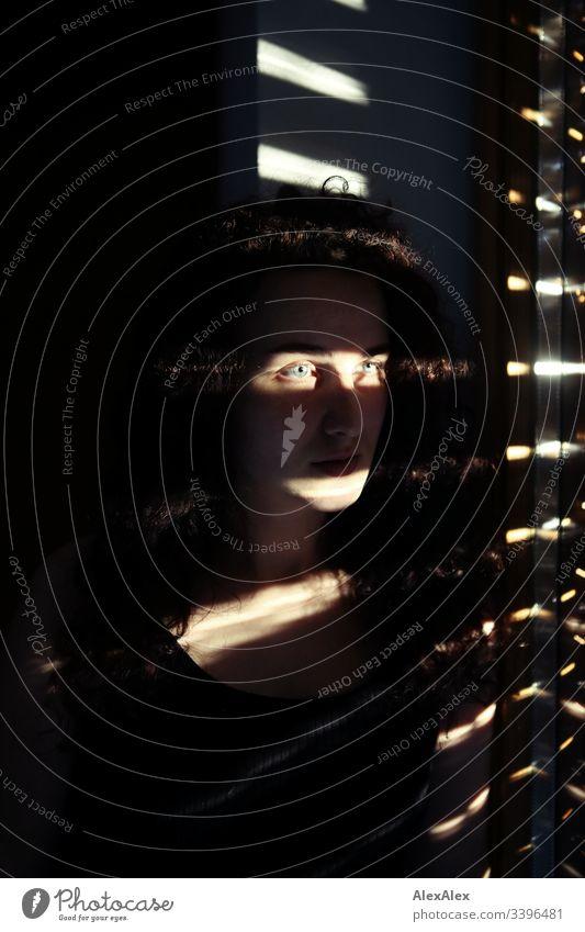 Lichtstreifen- und Schatten- Portrait einer jungen Frau Schlank dunkelhaarig Stilrichtung rot elegant schön Leben Wohnung Raum Junge Frau Jugendliche Gesicht
