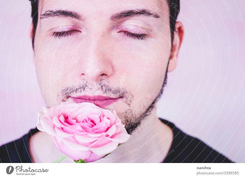 Porträt der neuen Männlichkeit über einen geschminkten Mann zusammenstellen Make-up männlich Schönheit Maskulinität Geschlecht trans Transgender Menschen