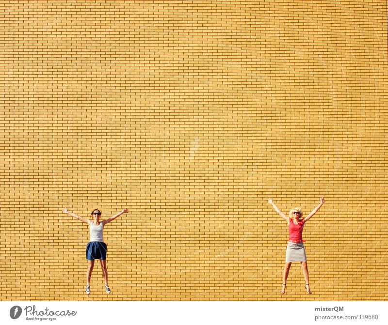 two on air. Lifestyle Design Freude Freizeit & Hobby Kunst ästhetisch Jugendkultur Junge Frau verrückt modern springen Freudenfeuer Fröhlichkeit frei Freiheit