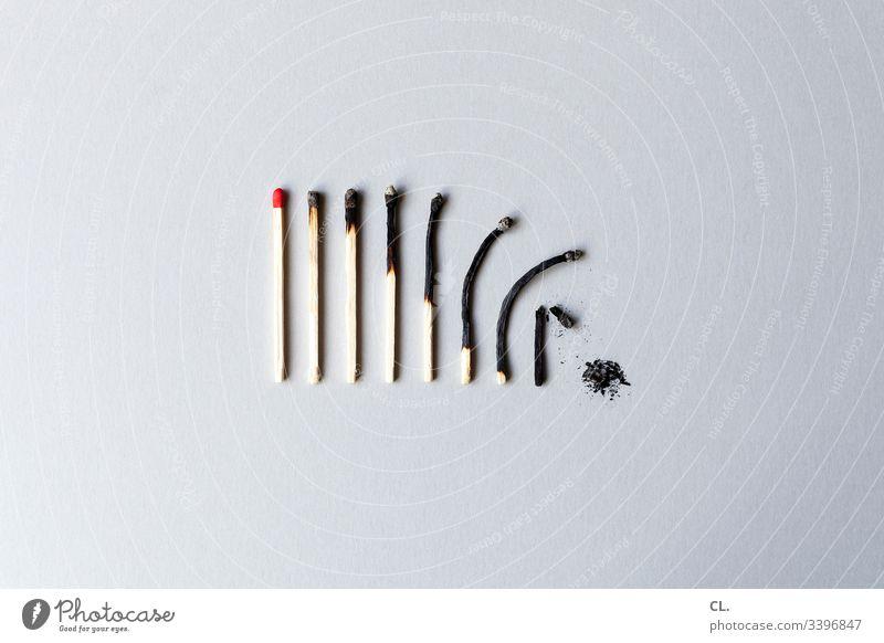 that's life (object challenge) Streichholz Streichhölzer verbrannt Feuer burn out syndrome Burnout Asche Leben Lebensalter Tod Verfall Vergänglichkeit