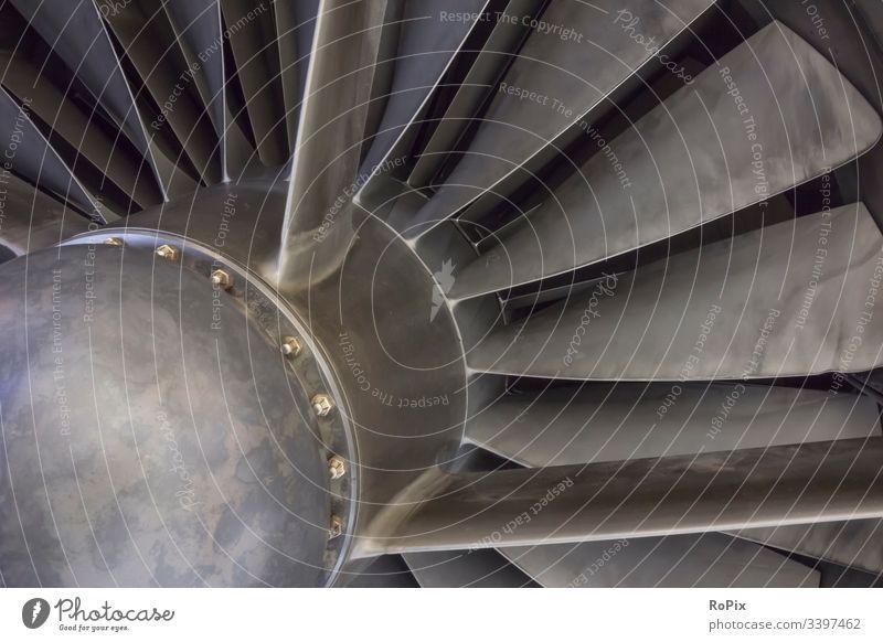Stahltriebwerk einer Concorde. Triebwerk engine Gebläse Jet Technik Strömung Motor Schaufeln Strahltriebwerk Maschine Turbine machine Mechanik stahl rostfrei