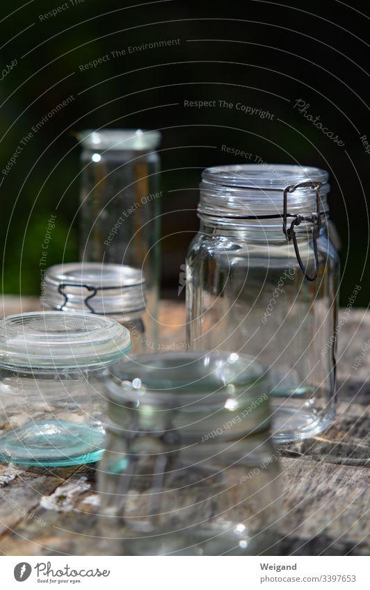 Einmachgläser Einmachglas einmachen konservieren Glas Deckel Garten Slowfood leer Lebensmittel lecker Farbfoto