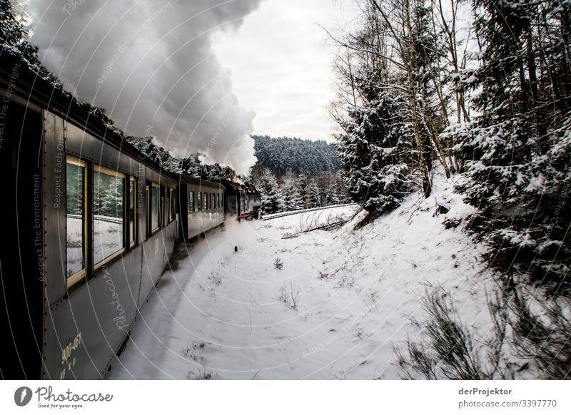 Fahrt mit der Schmalspurbahn im Harz Textfreiraum unten Sachsen-Anhalt mehrfarbig Brocken Farbfoto Außenaufnahme Menschenleer Textfreiraum rechts