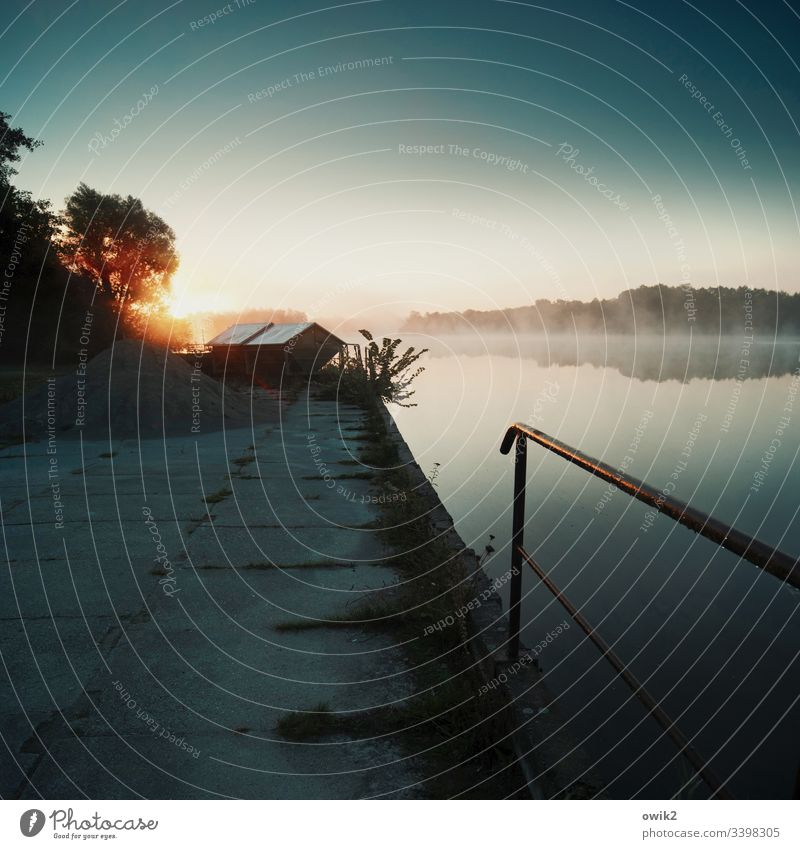Zeitig Landschaft See Ufer Wasser Wasseroberfläche Ruhe Stille friedlich Landschaft Außenaufnahme Reflexion & Spiegelung Menschenleer Himmel Seeufer Umwelt