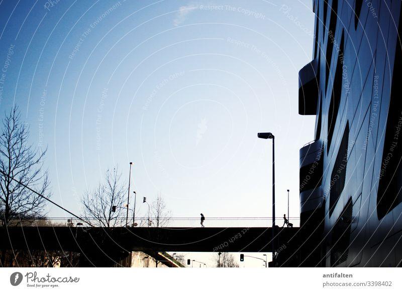 Immer Abstand halten Düsseldorf Brücke Stadt Außenaufnahme Architektur Abend blau Straße Lampe modern spazierengehen Spaziergang Ampel Laterne Laternenpfahl
