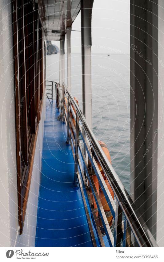 Blick über einen Gang eines Schiffes über die Reling mit Rettungsreifen auf das Wasser Meer blau Holz Seefahrt Ausflug grau neblig Außenaufnahme Schifffahrt