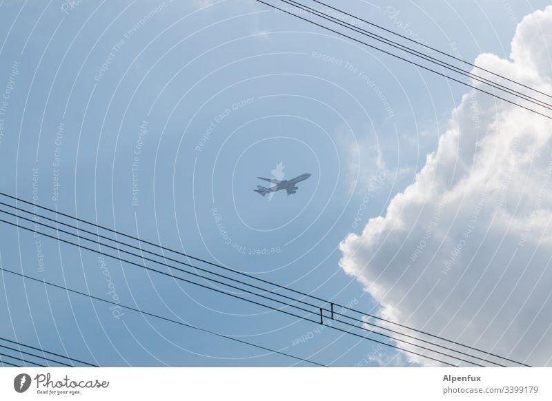 Seilschaft | Hochspannung Himmel Flugzeug blau Luftverkehr fliegen Außenaufnahme Wolken Ferien & Urlaub & Reisen Passagierflugzeug Menschenleer Tag
