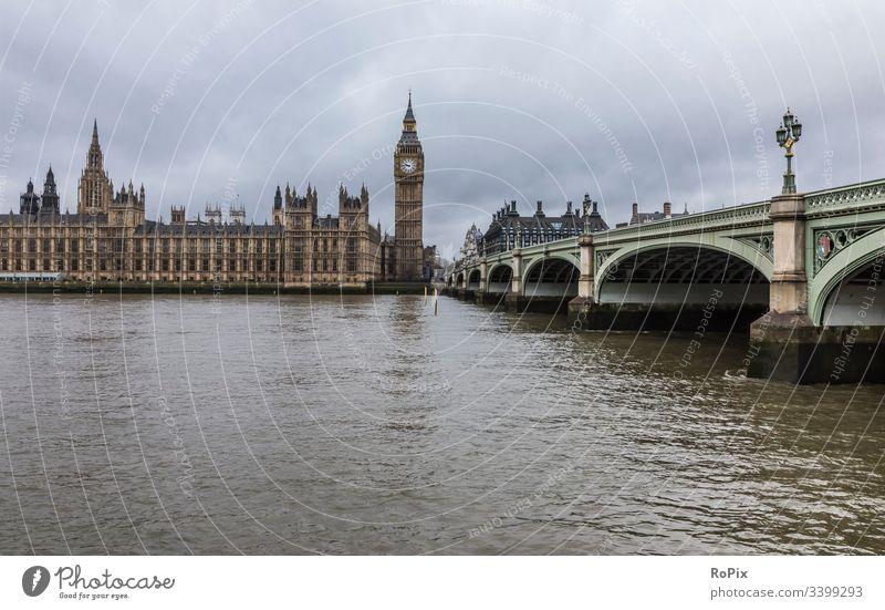 Westminster bridge in London. England Parlament parliament Uhr Glockenturm britain Britannien Zaun Wahrzeichen Regierung big Ben Kultur Bauwerk Gebäude