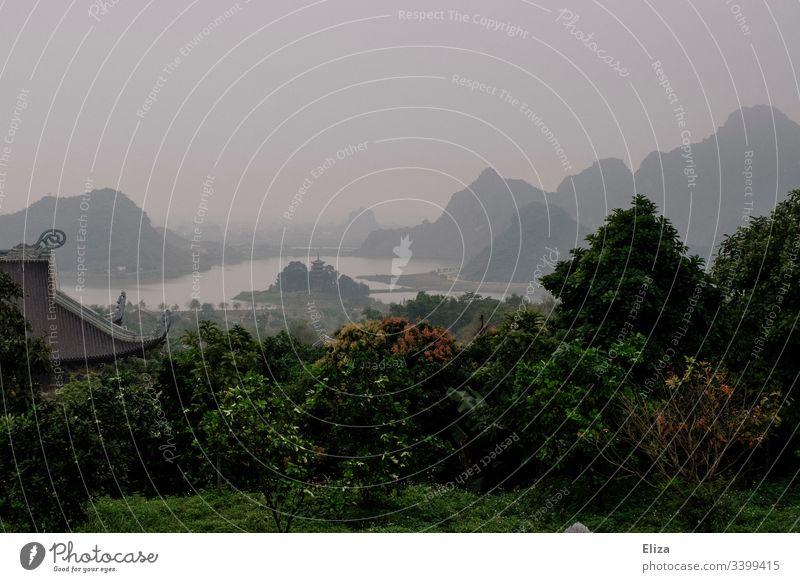 Grüne mystische Landschaft mit Flüssen, Hügeln und Nebel in Asien landschaft grün nebelig Außenaufnahme Natur Farbfoto Berge u. Gebirge Wald