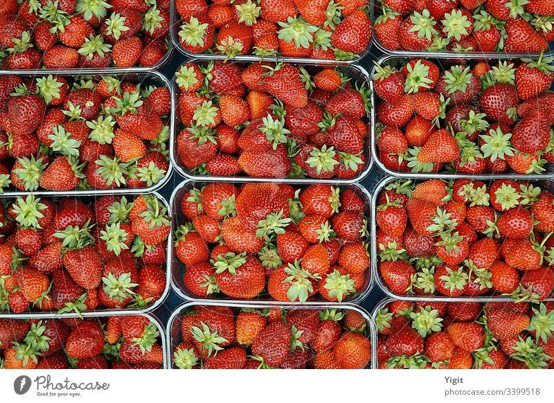 Erdbeeren auf dem lokalen Markt ausgestellt reif Ernährung Beeren Gesundheit Farbe Nahaufnahme Ackerbau Hintergrund Basar Bodrum Bodrum-Truthahn lecker Dessert
