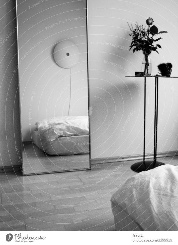 Du bist das Schönste im ganzen Schlafzimmer, sagte der Spiegel zum Bett, was das Tischchen mit auf ihm trohnender Rose und abgelegten Schmuck sehr kränkte.