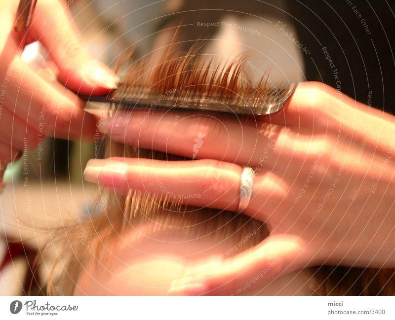 Besuch beim Friseur Haare & Frisuren Schere Haarschnitt Kamm Handwerker Werkzeug Beruf Fototechnik
