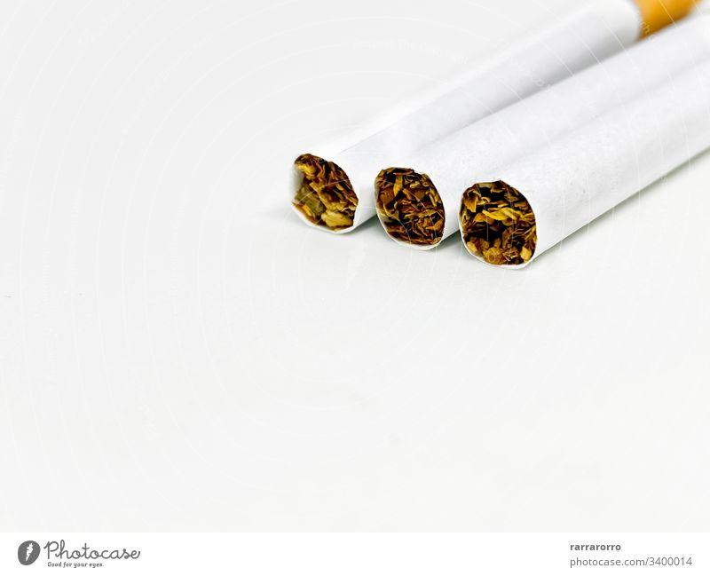 Nahaufnahme von drei Zigaretten Menschengruppe Konzept Krebs niemand giftig Hintergrund ungesund Habitus Rauch Tabak Sucht Aschenbecher Hintergründe