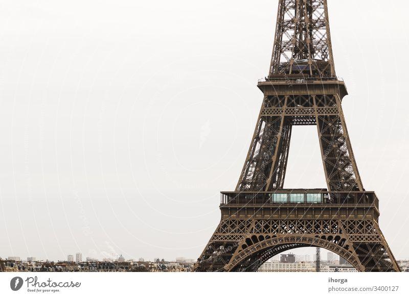 Blick auf den Eiffelturm in Paris, Frankreich architektonisch Architektur Anziehungskraft schön Schönheit Gebäude Großstadt Stadtbild Konstruktion Ausflugsziel
