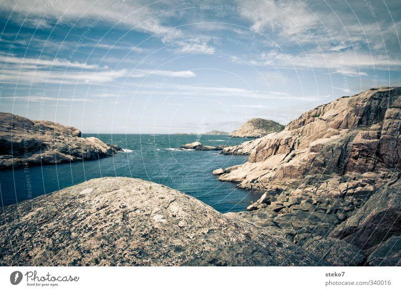 Südnorwegen Wasser Himmel Schönes Wetter Felsen Küste Bucht Meer blau Einsamkeit Erholung ruhig Ferne frisch Norwegen Farbfoto Außenaufnahme Menschenleer
