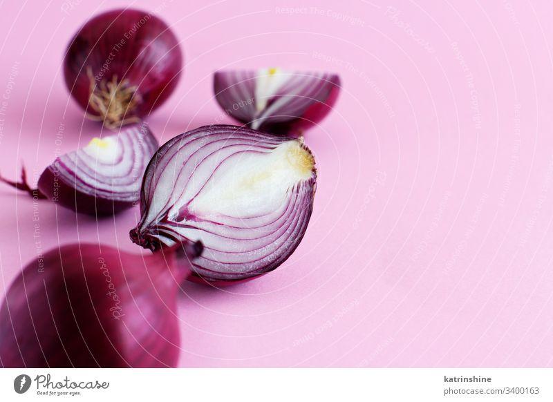 Violette Zwiebel auf hellrosaem Hintergrund purpur rot aufgeschnitten Hälfte Lebensmittel Gesundheit Monochrom roh organisch Gemüse Bestandteil Vegetarier reif