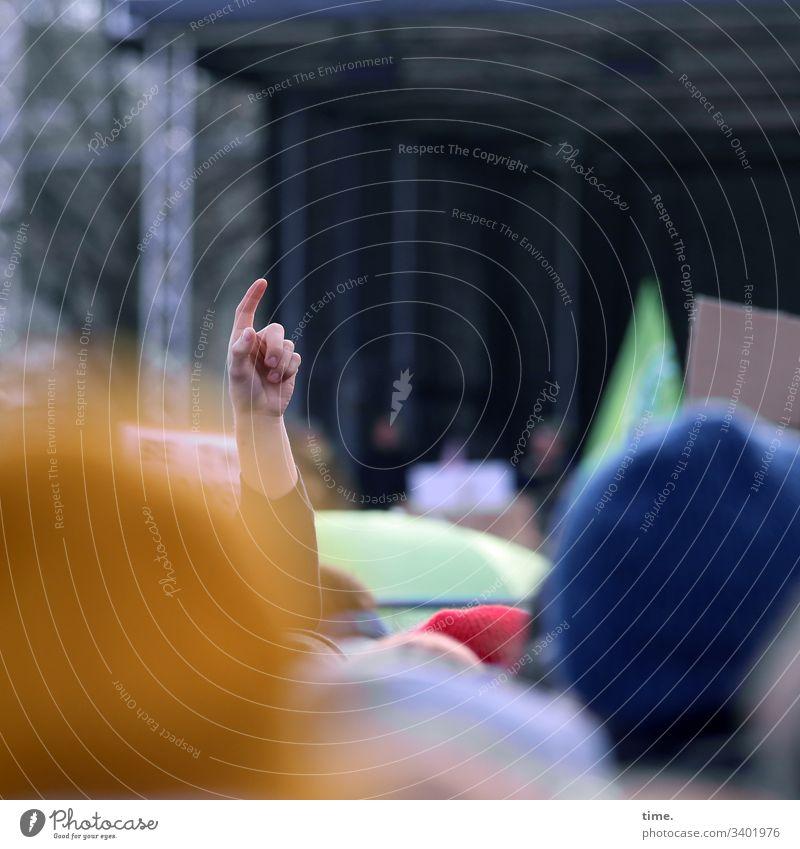 Fingerzeig demonstration protest klimaschutz hamburg tageslicht bühne menschenmenge mahnung Fridays for future fridaysforfuture sinnbild Endzeitstimmung