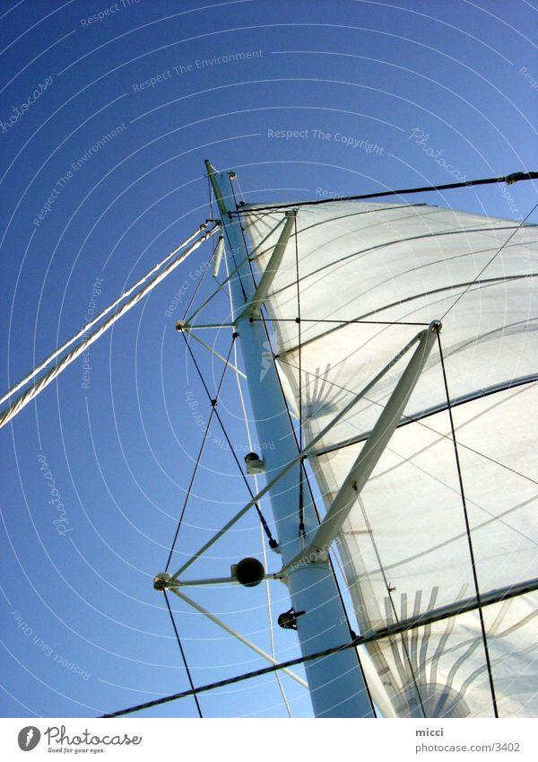 Segel im Wind Himmel Meer Ferien & Urlaub & Reisen Sport Wasserfahrzeug Wind Segeln Segel Katamaran