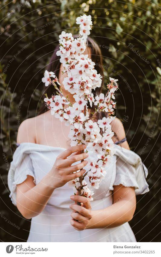 Unkenntliche Frauenhand mit einem Mandelblütenzweig. Erstaunlicher Frühlingsanfang. Selektiver Fokus. Weiblichkeit, feministisches und weibliches Konzept.