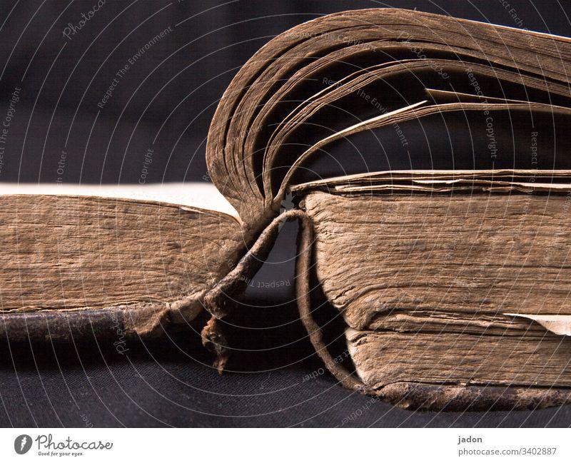 ein offenes buch, ziemlich alt. Buch antiquarisch Literatur lesen lernen Wissen Papier Menschenleer Studium Bibliothek Weisheit zerfleddert