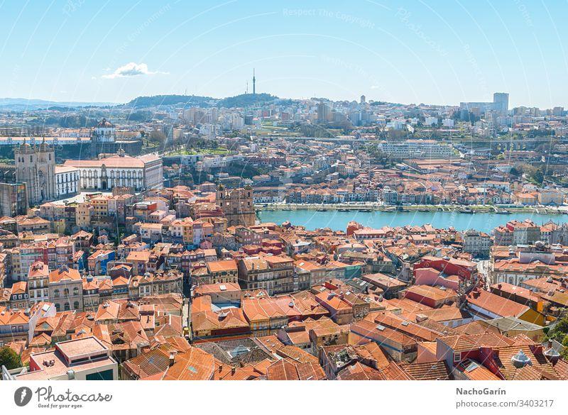 Luftaufnahme der Altstadt von Porto, Portugal Ansicht alt Stadt Douro Großstadt Antenne Europa Fluss Stadtbild historisch Portugiesisch oporto reisen Tourismus