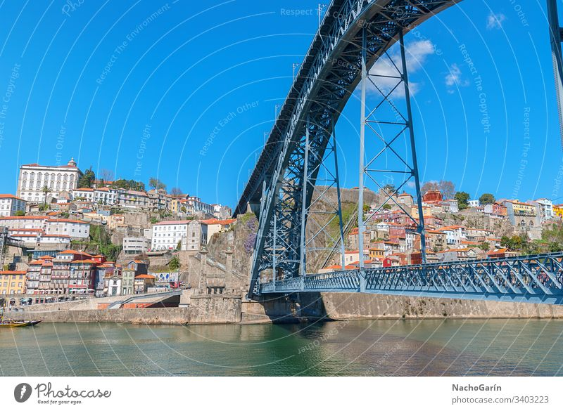 Dom-Luis-Brücke in Porto, Portugal Ansicht alt Stadt Douro Großstadt Antenne Europa Fluss Stadtbild historisch Portugiesisch oporto reisen Tourismus farbenfroh