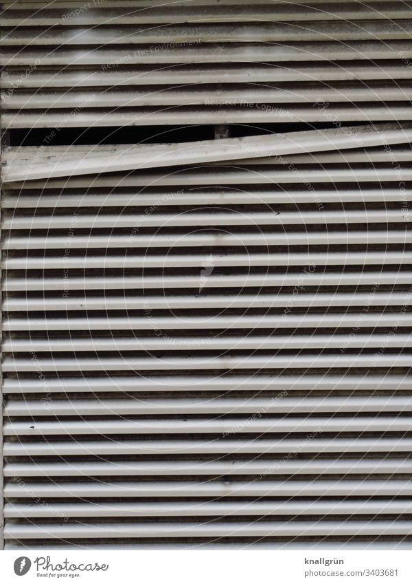 Lamellen Sichtschutz mit einer schräg stehenden Lamelle Jalousie Strukturen & Formen geschlossen waagerecht Menschenleer Detailaufnahme Farbfoto Muster Fenster