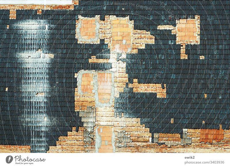 Unbekannt verzogen Haus Fassade Ziegeln zugemauert Steine Lösungen endgültig menschenleer unbewohnt trist Wand Gebäude Bauwerk Mauer Fenster Tür
