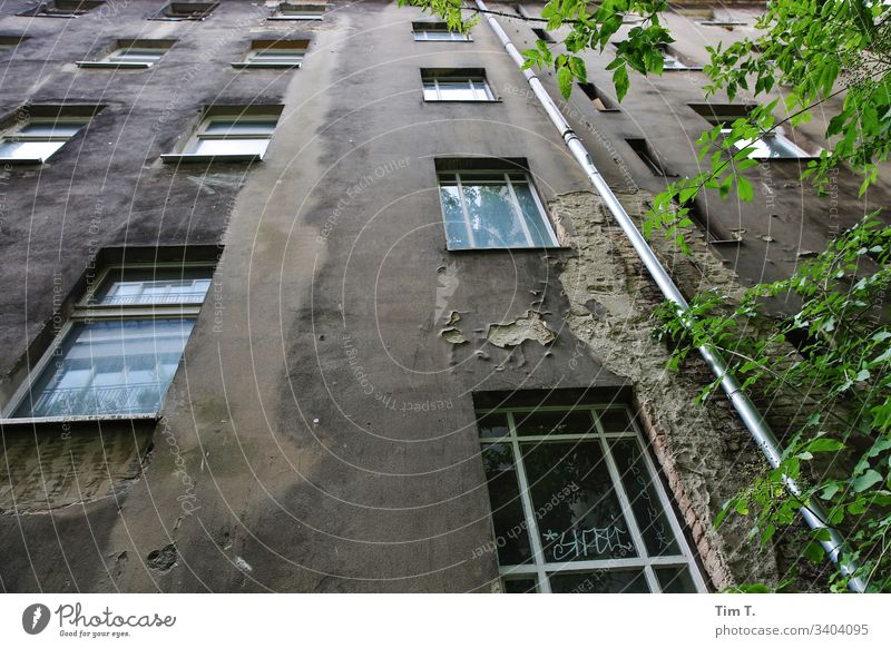 Hinterhof Berlin Prenzlauer Berg Stadt Hauptstadt Stadtzentrum Altstadt Außenaufnahme Menschenleer Tag Farbfoto Haus Altbau Fenster Bauwerk Vergänglichkeit