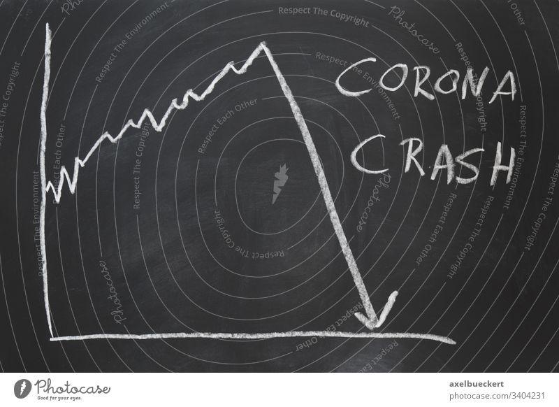 Corona-Crash - handgezeichnete Grafik, die den Zusammenbruch des Aktienmarktes zeigt Absturz Markt Wirtschaft Krise Coronavirus Grafische Darstellung Virus