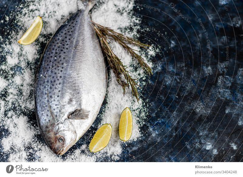 Schmackhafter frischer Fisch auf dunklem Hintergrund. Gefrorenes Produkt. Fisch mit aromatischen Kräutern, Gewürzen und Gemüse - das Konzept einer gesunden Ernährung, Diät oder Kochen.