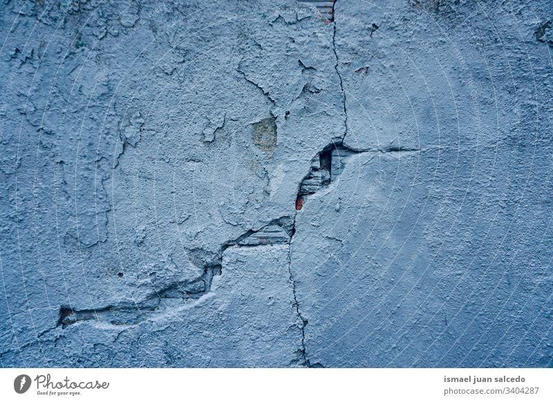 gebrochene blaue Wand Textur Muster Stein Hintergrund abstrakt alt Fassade Gebäude Straße im Freien Grunge altehrwürdig Linien Oberfläche texturiert Formen