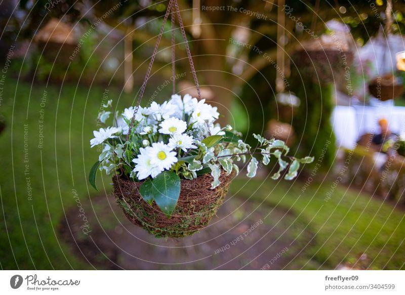 Blumenarrangement an einer Hochzeitsdekoration hängend Liebe erhängen Stängel Party Valentinsgruß Rosen Feier natürlich Handwerk niemand Ordnung purpur