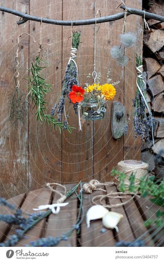 Kräuter hängen zum Trocknen am Ast trocknen Rosmarin Lavendel Kapuzinerkresse pflanzen Kräuter & Gewürze Knoblauch Schnur Garten Ringelblume Holz
