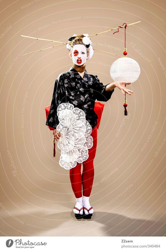 geisha elegant Stil Schminke feminin Junge Frau Jugendliche 18-30 Jahre Erwachsene Skulptur Mode Leggings Fächer Haare & Frisuren blond Hochsteckfrisur exotisch