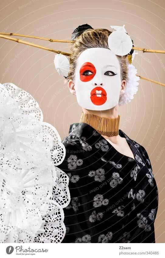 geisha elegant Stil Junge Frau Jugendliche 18-30 Jahre Erwachsene Skulptur Mode Kimono Accessoire Fächer blond Hochsteckfrisur exotisch schön feminin rot