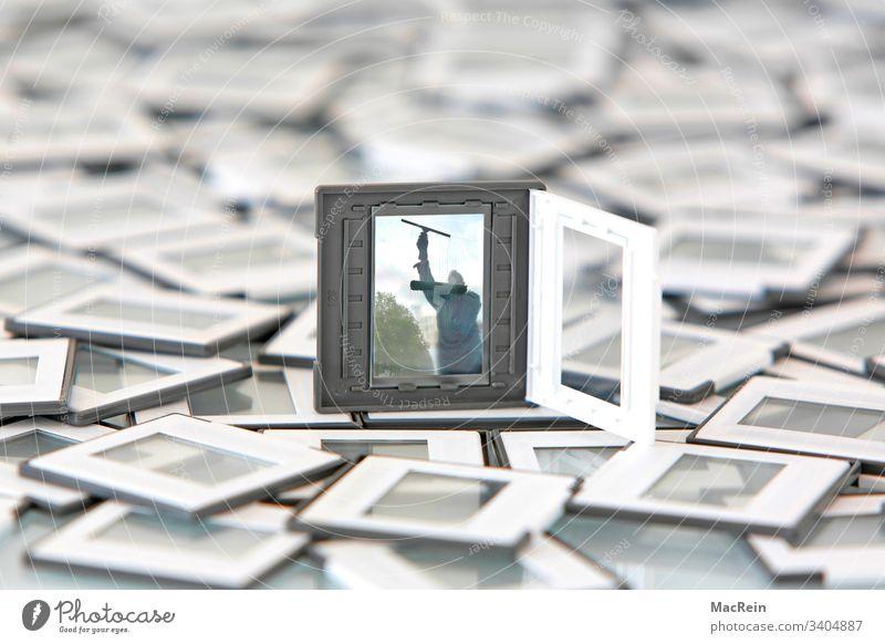 Diarahmen dia diapositv diarahmen diapositiv fotografie glasscheibe einrahmen fensterputzer glasreiniger studioaufnahme niemand textfreiraum