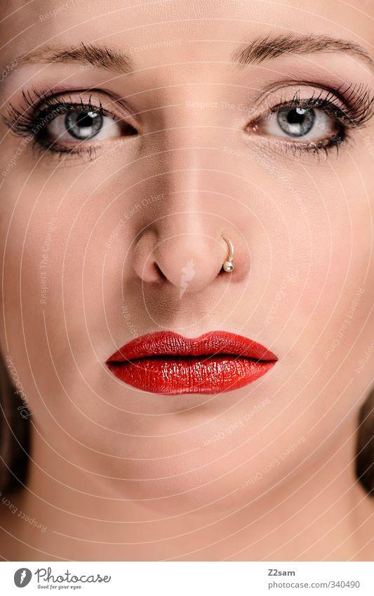 lips VI elegant schön Schminke Lippenstift feminin Junge Frau Jugendliche Mund 18-30 Jahre Erwachsene Accessoire Piercing Blick ästhetisch Erotik frech verrückt