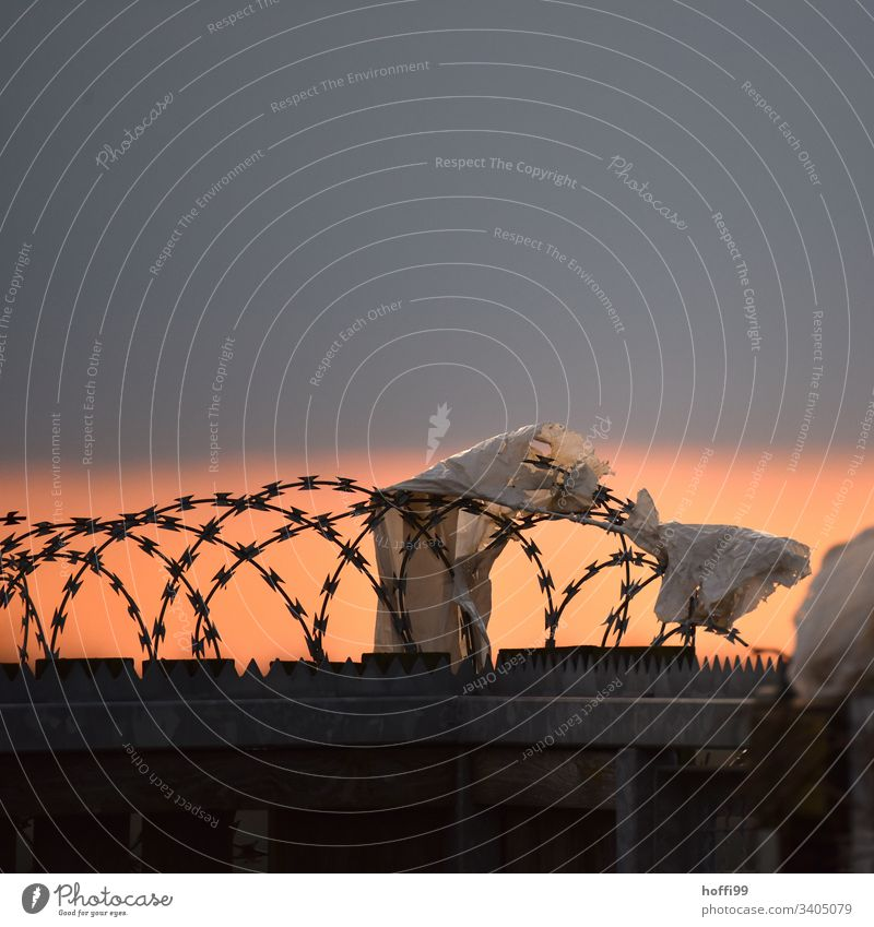 weniger Ausgrenzung - mehr Rücksichtnahme ! Zaun Maschendrahtzaun Menschenleer Außenaufnahme Sicherheit Barriere Schutz Borte Drahtzaun Stacheldrahtzaun