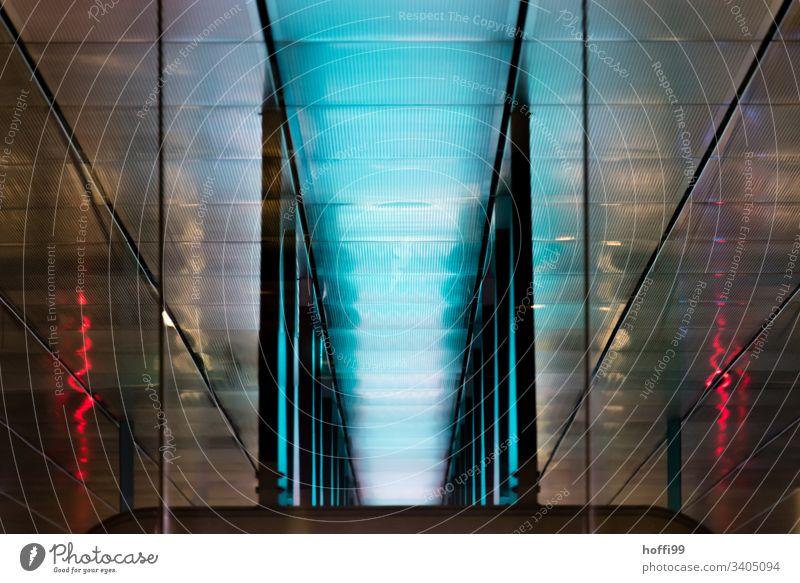abstrakte Muster von unterirdischen Lichtern Architektur blau rot Design Kühle kühle Architektur Lifestyle Kunst hinterlistig Stil Coolness modern eckig trendy